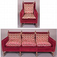 A Grand Rapids Carved Walnut Sofa and Armchairs