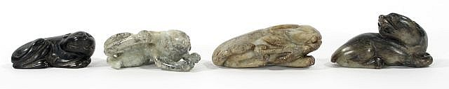 A Group of Four Chinese Carved Jade and Hard Stone Animal Figures Depicting Two Bats and Two Lions.