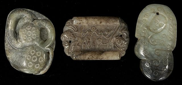A Group of Three Chinese Carved Jade and Hard Stone Objects Depicting Animal Figures and Vegetation.