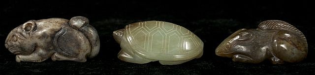 A Group of Three Chinese Carved Jade and Hard Stone Animal Figures Depicting a Turtle and Two Rodents.