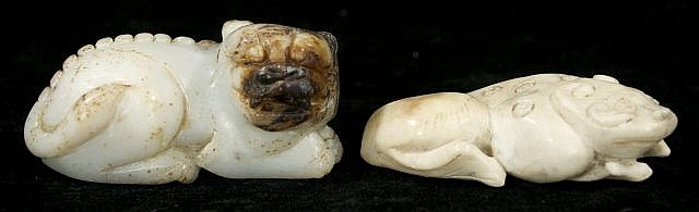 Two Chinese Carved Jade and Hard Stone Figures Depicting a Lion and a Frog.