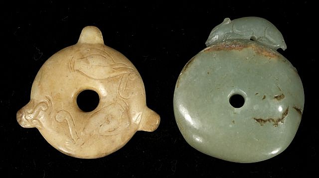 Two Chinese Carved Jade and Hard Stone Pendants.