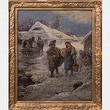 Pjotr Stojanow (1857-1957) Village Winter Scene, Oil on canvas,