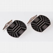 A Pair of Rare Victor Vasarely Op Art Sterling Silver and Enamel Cufflinks,