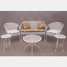 A Collection of Russell Woodard Style Mesh Patio Furniture, 20th Century,