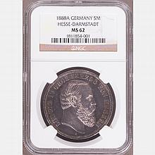 An 1888A Ludwig IV Silver 5 Mark Coin,