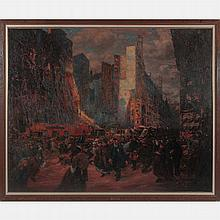 Gaston Prunier (1863-1927) Boulevard a Paris, Oil on canvas,