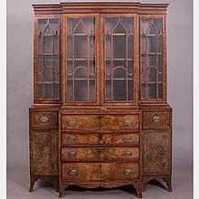 A Diminutive Georgian Style Mahogany Secretary Bookcase, Early 20th Century,