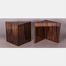 A Pair of Pace Collection Macassar Ebony Veneer Triangular Side Tables, 20th Century.