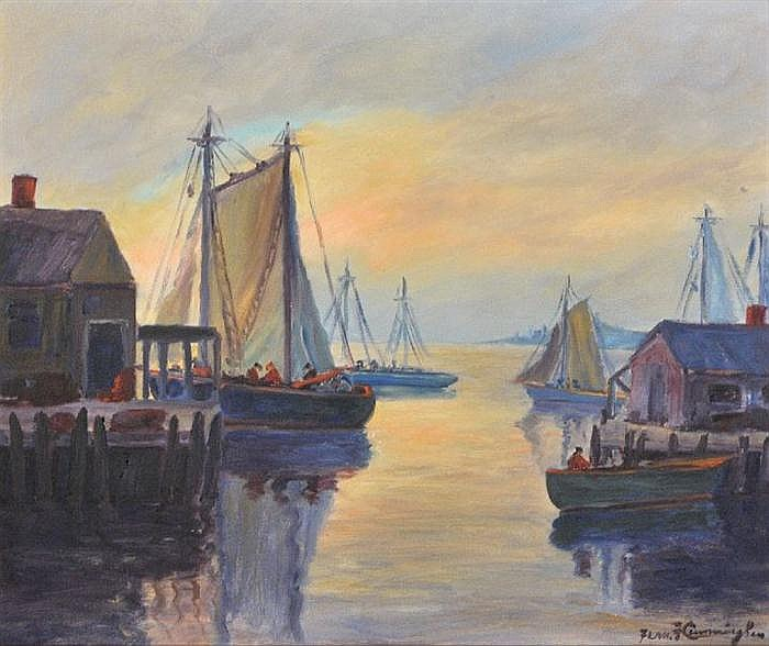 Fern Francis Cunningham (Fern Cunningham Stone) (1889-1975) Evening Harbor Scene, Oil on canvas,