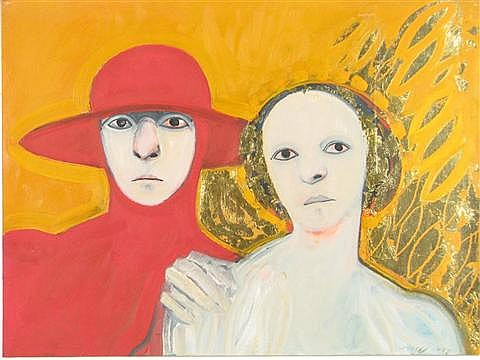 Selina Trieff (American, 20th Century) Two Portraits, Mixed media on paper,