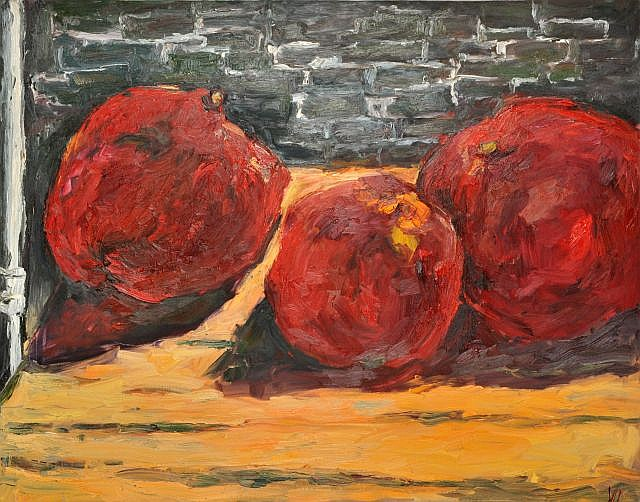 Vicky Marshall (Canadian, b. 1952) Three Pomegranates, Oil on canvas,