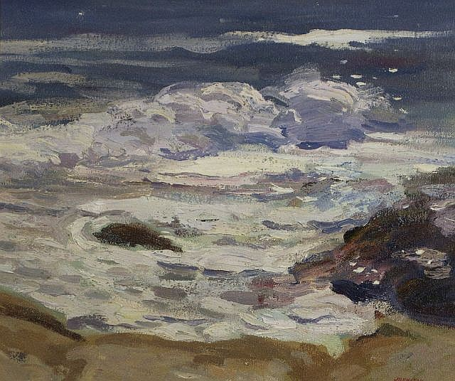 Ron Johnston (20th Century) Surf Study II, Oil on canvas,