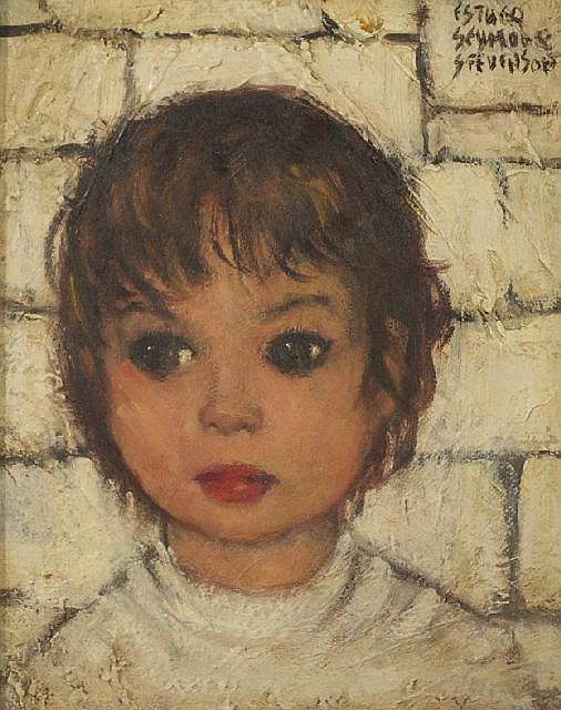 Esther Seymour Stevenson (20th Century) Bambino, Oil on panel,