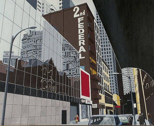 Roy Ahlgren (1927-2011) Oliver Avenue, Acrylic on canvas,