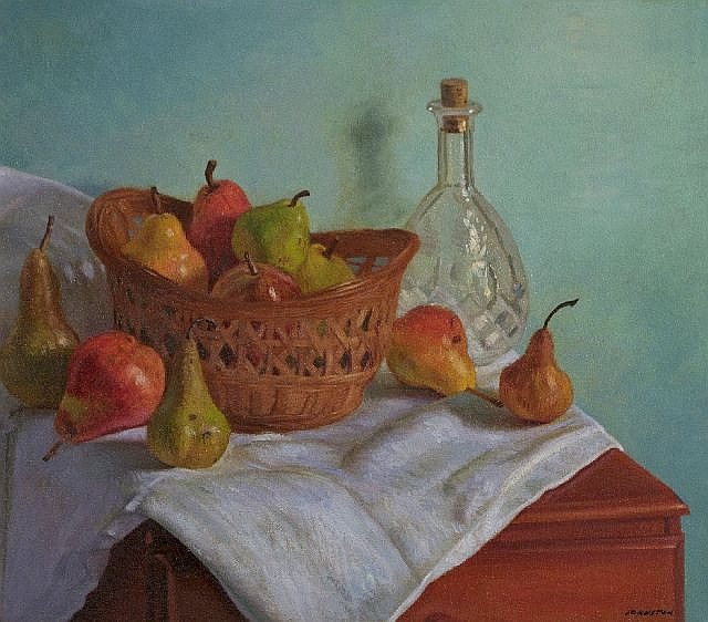 Ron Johnston (20th Century) Still Life with Pears and Decanter, Oil on canvas,