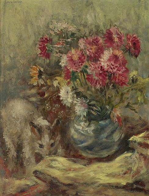 Michael Aloysius Sarisky (1906-1974) Floral Still Life with Kitten, Oil on board,