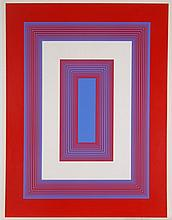 Richard Joseph Anuszkiewicz (b. 1930) Red and Blue Dimensions, 1975, Color silkscreen,