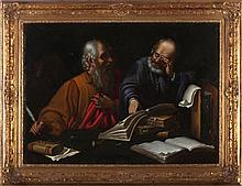 Old Masters School (19th Century) Portrait of Scholars, Oil on canvas,