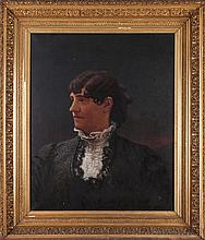American School (19th Century) Portrait of a Lady, Oil on canvas,