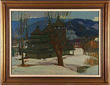 Artist Unknown (Ukrainian, 20th Century) Carpathian Wooden Church in a Winter Landscape, Oil on canvas,