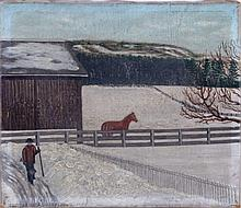 American School (19th Century) A Winter Barnyard Scene with Figures, Oil on canvas.