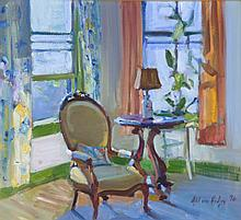 Adilson Hodges (20th Century) Interior Scene, Oil on canvas,