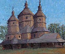 Liuboslav Hutsaliuk (Ukrainian/American, 1923-2003) Carpathian Wooden Church in a Landscape, Oil on canvas,