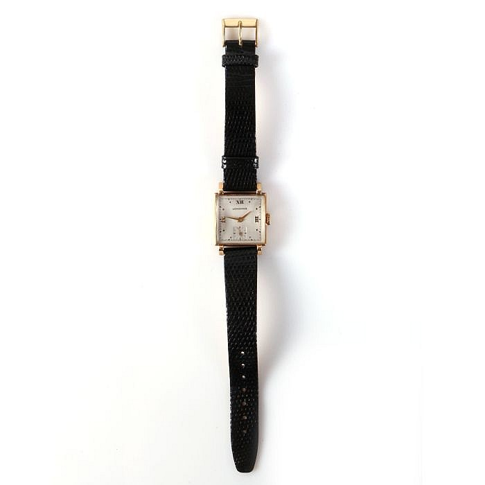 A 14kt. Yellow Gold Longines Wrist Watch, 20th Century.