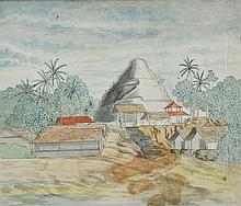 Jan Brandes (1743-1808) Singalesche Pagode op Ceylon (Sinhalese Pagoda in Ceylon), Watercolor on laid paper,