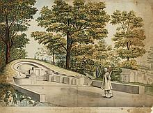 Jan Brandes (1743-1808) Jinesche Begraafplats in Batvia (Chinese Pavilion in Batvia), Watercolor on laid paper,
