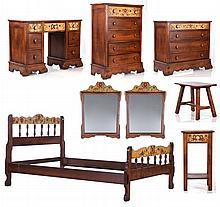 A Monterey Painted Oak Eight Piece Bedroom Set, 20th Century.