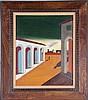 Italian Modernist Metaphysical School (20th Century) Piazza d'Italia, Oil on canvas,