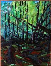 Mark David Gottsegen (1948-2013) Ross Creek Cedars, NW Montana, 1991, Acrylic on paper mounted on wood.
