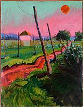 Mark David Gottsegen (1948-2013) Dawn, Biggsville, Illinois, 1989, Acrylic on paper, laid on board,