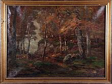 John Semon (1852-1917) Autumn Forest Scene, Oil on canvas,