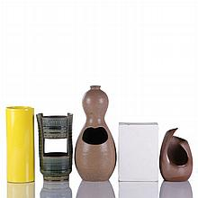 A Group of Five Contemporary Ceramic Vases, 20th Century,