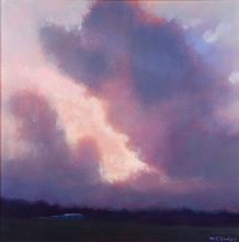 M.K. Hurley (20th Century) Landscape with Clouds, Oil on canvas,