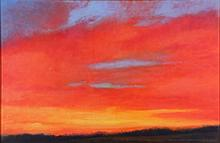 M.K. Hurley (20th Century) Sunset, Oil on canvas,