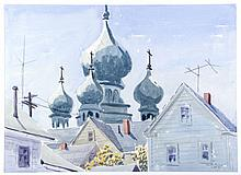Martin Linsey (1915-2010) Orthodox Church Domes, Watercolor,