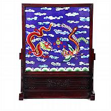 A Chinese Cloisonne Screen Depicting a Dragon and Bird Motif, 19th/20th Century,