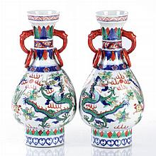 A Pair of Chinese Porcelain Vases, Early 20th Century.