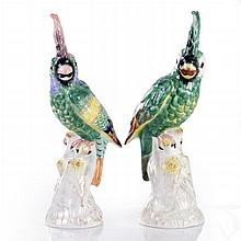 A Pair of Mottahedeh Design Porcelain Bird Form Figures, 20th Century.