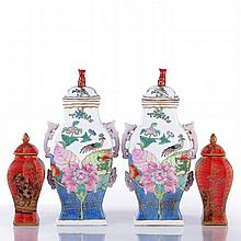 A Pair of Chinese Porcelain Lidded Jars, 20th Century,