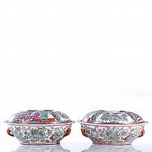 A Pair of Chinese Porcelain Famille Rose Covered Bowls, 20th Century.