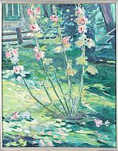 Deb Steytler (20th Century) Hollyhocks, Oil on canvas.