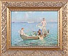 Carl Vilhelm Larsen (1880-1993) Boys Swimming from a Boat, Oil on canvas,