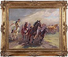 István Benyovszky (1898-1969) Galloping Horses, Oil on canvas,