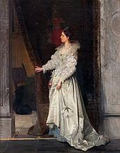Francesco Valaperta (1836-1908) Interior Scene with Lady, Oil on canvas, laid on board,