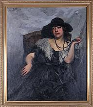 Sandor Vago (1887-1946) Portrait of a Lady, Oil on canvas,